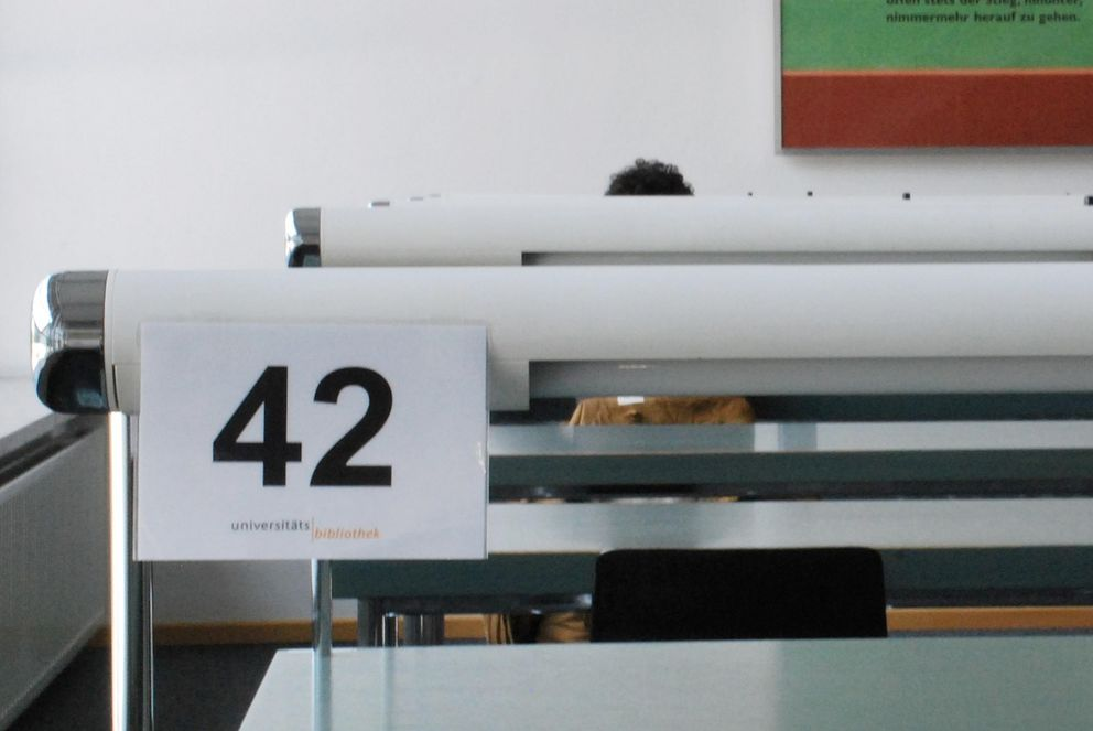 Numbered seats in the central library