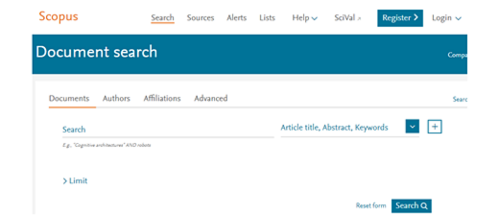 Screenshot der Scopus Datenbank